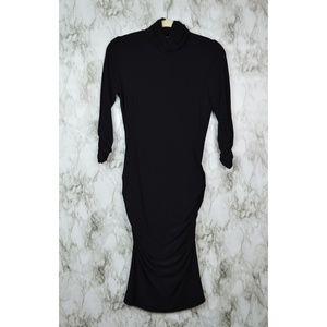 Joseph Ribkoff black turtleneck bodycon dress